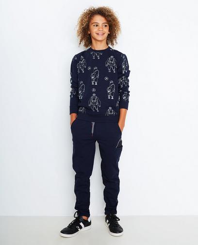 Pantalon molletonné bleu